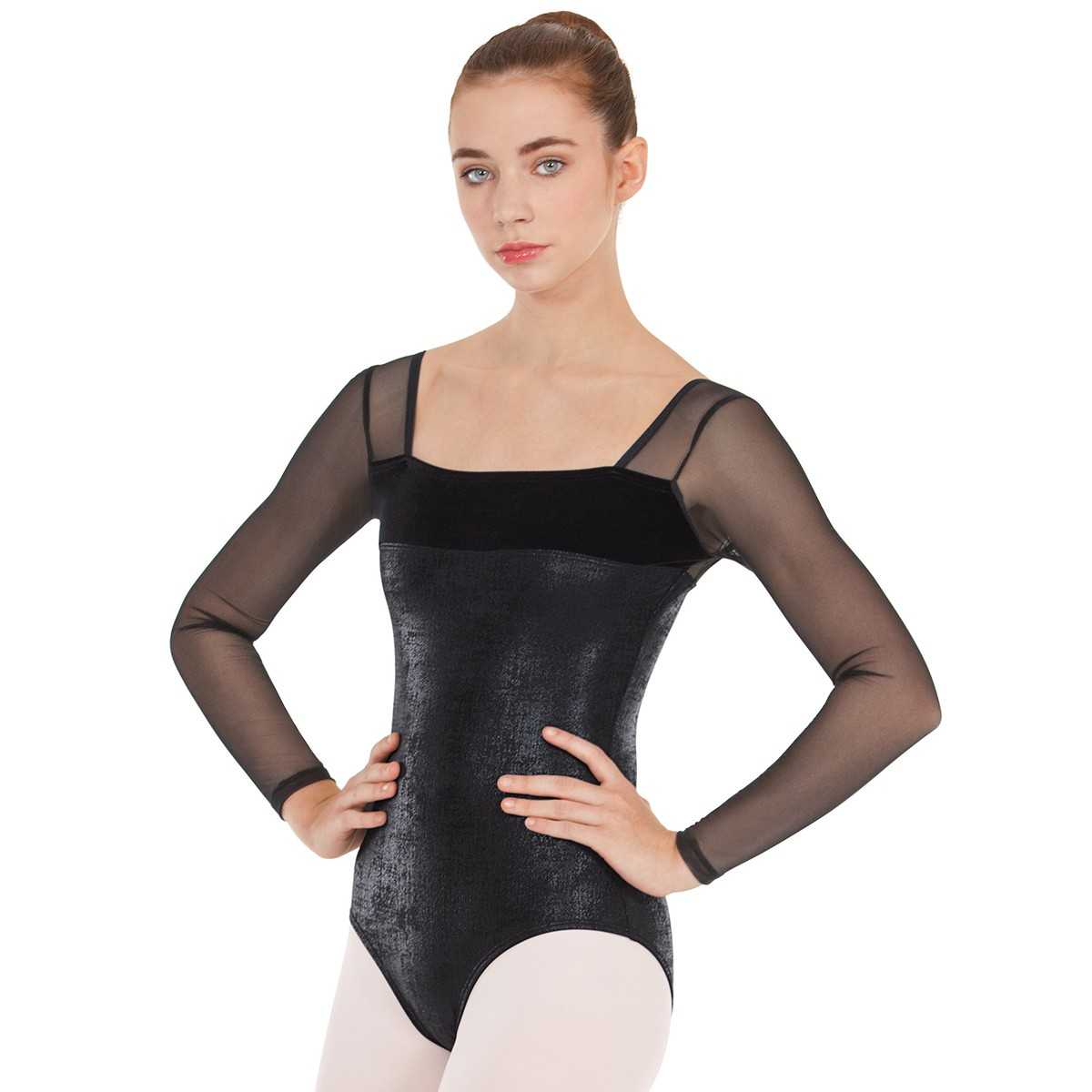 179ea4279ad5 Adult Dimensional Mesh Sleeve Leotard. Loading zoom