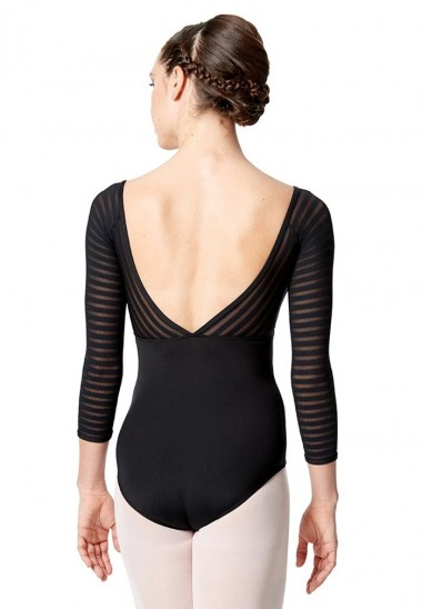 3/4 Striped Mesh Sleeve Leotard Milena