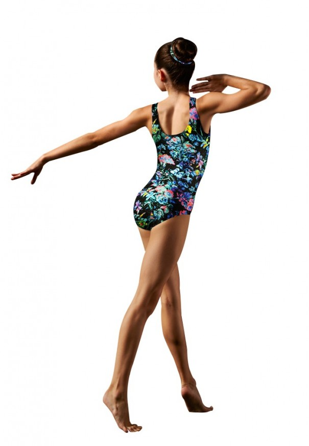 Printed tank unitard and scrunchie