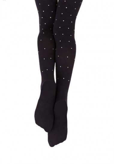 Capezio Ultra Soft Footed Tight with Crystal Rhinestones Black